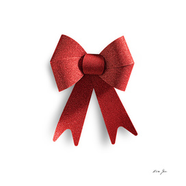 Big red  bow ribbon  isolated on white