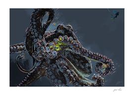"""Release the Kraken"""" - Giant Octopus Digital Illustration"""