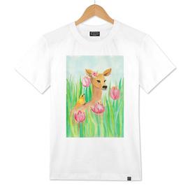 deer and bird