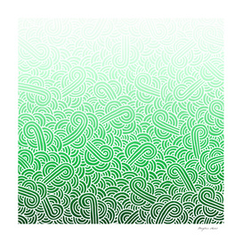 Ombré green and white swirls doodles