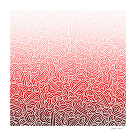 Ombré red and white swirls doodles