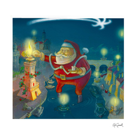 Santa Claus and the lighthouse