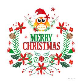Merry Christmas Typography Christmas Owl Wreath