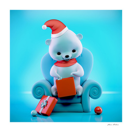 Teddy bear with Christmas box sitting on a sofa