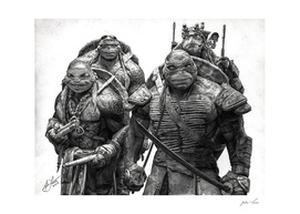 Graphite Pencil Portrait of the Teenage Mutant Ninja Turtles
