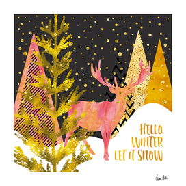 GRAPHIC ART GOLD Hello winter let it snow