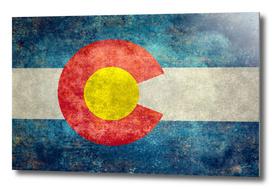Colorado state flag in retro style