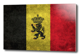 Flag of Belgium with Lion inset in Retro style
