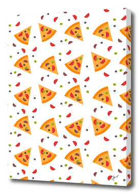 Pizza seamless pattern on white background.