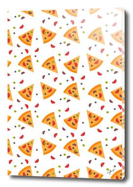 Pizza seamless pattern on white background.