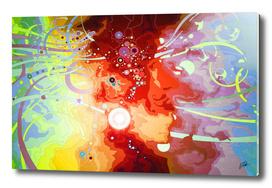 Cyberportrait in neuroworld. Red version.