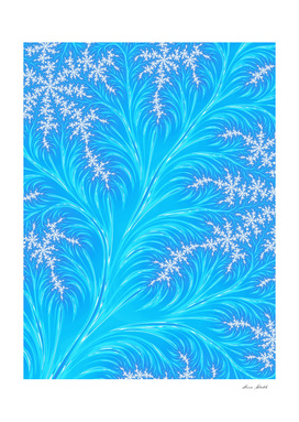 Abstract  Blue Christmas Tree Branch with White Snowflakes