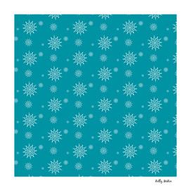 White Snowflakes on Turquoise