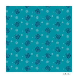 Blue and White Snowflakes