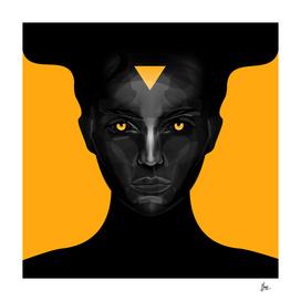 black lady on yellow
