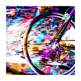 bicycle wheel with colorful abstract background