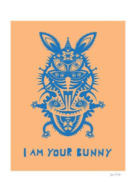 blue bunny on orange background