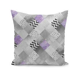 GRAPHIC PATTERN Sparkling Patchwork | purple&silver