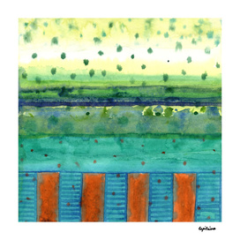 Orange Posts with Landscape