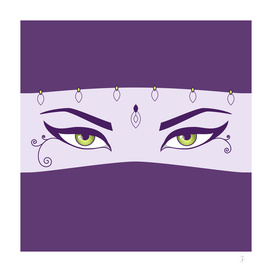 Purple Oriental Dancer With Beautiful Eyes