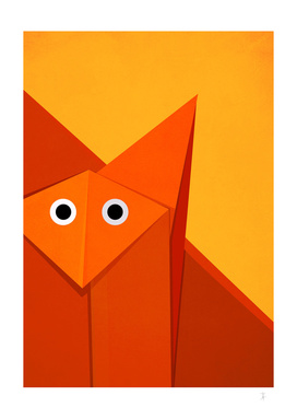 Geometric cute origami fox