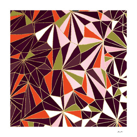 New Art Deco Geometry - Burgundy & Pink