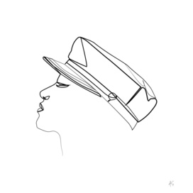 Woman Wearing Nautical Cap