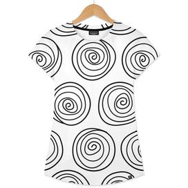Hand Drawn Spirals Vector Pattern (white)
