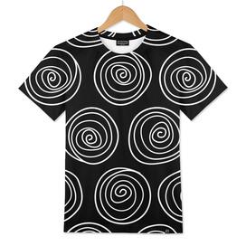 Hand Drawn Spirals Vector Pattern (black)