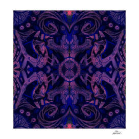 Curves & lotuses, abstract floral pattern, violet & black