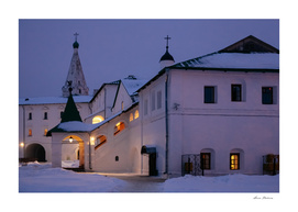 Christmas Evening light in the Temple Suzdal
