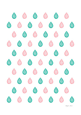 Coral pink & teal blue droplets