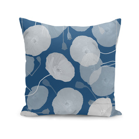 Monochromatic Poppies - Faux Cyanotype