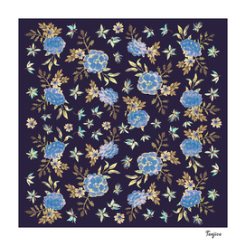 Blue Flowers. Dark Floral Pattern
