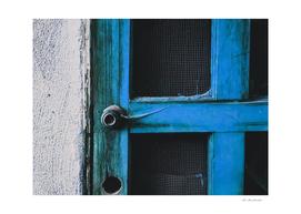 blue vintage wooden door