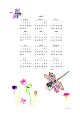 Dragonfly wall calendar watercolor 2018