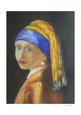 Pastel Girl with Pearl Earring after Vermeer