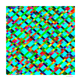 geometric square pixel pattern abstract in green red yellow