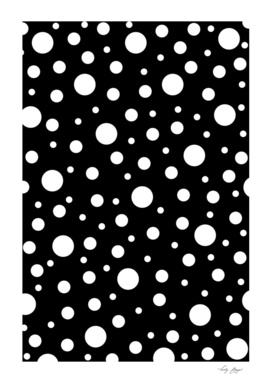White on Black Polka dot Pattern