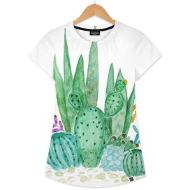 Watercolor Cactus Family