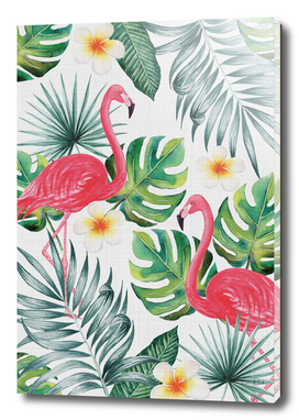 Flamingos in the jungle