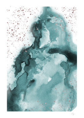 Watercolor meets Glitter - Turquoise Rose Gold - No 2