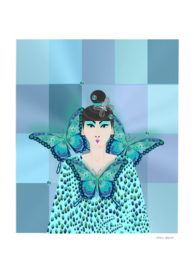 BLUE BUTTERFLY GEISHA.