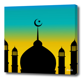 Mosque dome and minaret silhouette with moon during sunset