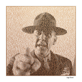 Text Portrait of Hartman with Script Of Full Metal Jacket