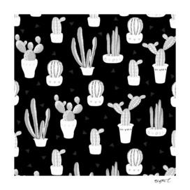 Black and White Desert Cacti Pattern