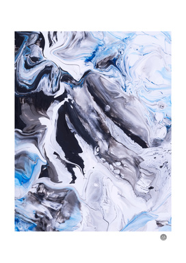 Abstract Blue Grey Marble Painting