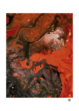 Horror Night | Black Red Marble Abstract Painting