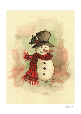 Snowman Watercolor Painting