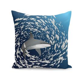 Shark and school of fish